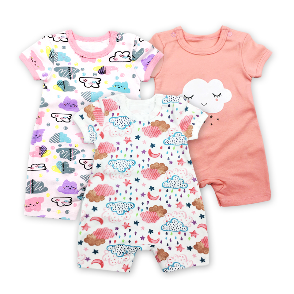 Cotton Baby Rompers Round Neck Baby Clothing Printed Boy Romper Suit 1 to 24 months Short Sleeve Jumpsuit Infant Product Set
