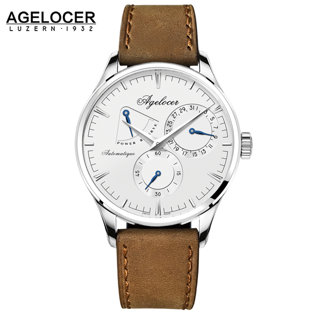 Ageocer logo luxury men watch roles silver gold dress roman automatic watch 2 dials male auto date wristwatch relojes hombre ultra luxury 2 3 5 modes german motor watch winder white color wooden black pu leater inside automatic watch winder