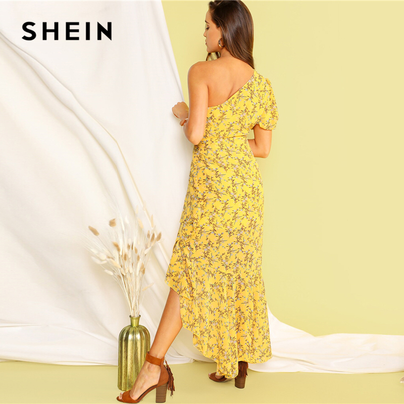 Image 2 - SHEIN Boho Yellow One Shoulder Layered Asymmetrical Ruffle Hem 