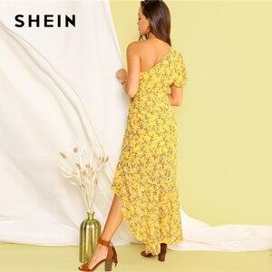 Image 2 - SHEIN Boho Yellow One Shoulder Layered Asymmetrical Ruffle Hem Dress Women Fit and Flare Elegant Summer Long Dresses