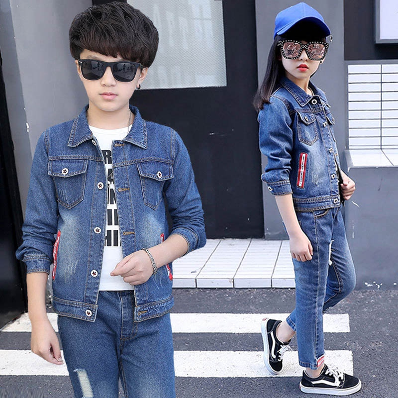 Children Autumn Spring Girls Clothing Sets Denim Jacket + Jeans 2 Piece Set Girl Outfit 4 6 8 10 12 14 Kids Clothes boy jeans jacket spring and autumn 2016 new children s denim jeans baby denim jacket