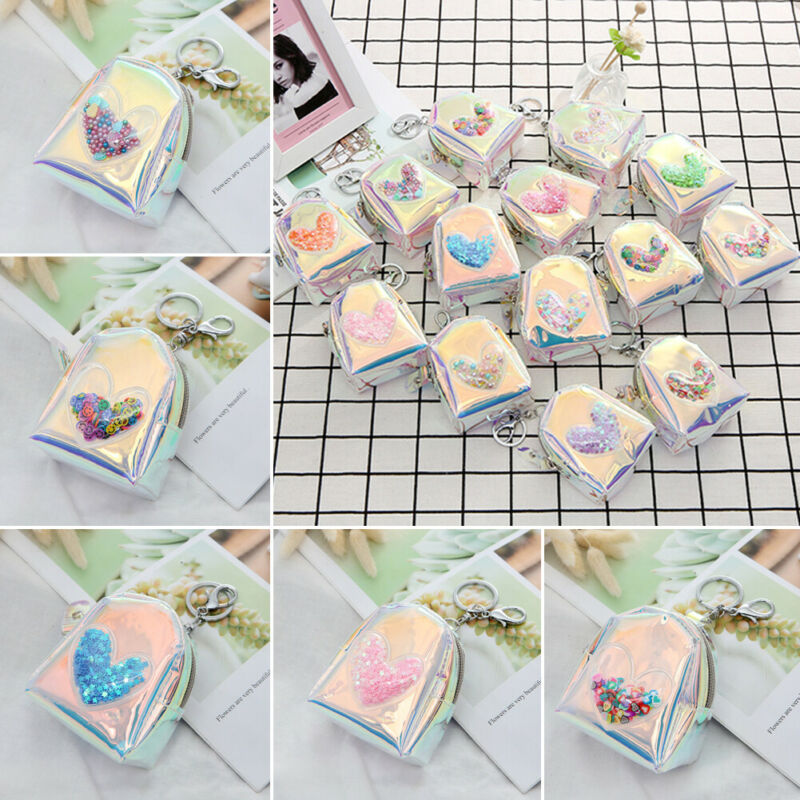 NoEnName Cute Girls Holographic Laser Change Coin Purse Zipper Clutch Wallet Kay Bag Mini Pouch Handbang(China)