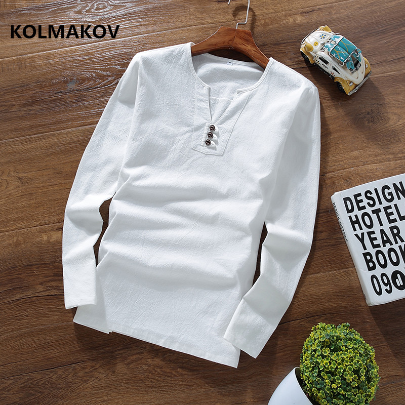 2019 spring new style Long sleeves mens   T  -  shirt   Cotton and linen   t     shirts   men's High quality of casual fashion   T  -  shirts   men
