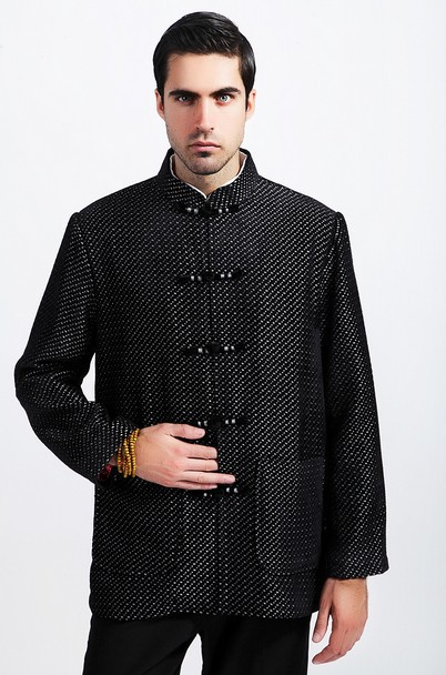 Fashion Chinese Style Men's Black Wool Kung-Fu Jacket Coat M L XL XXL XXXL Free Shipping M3