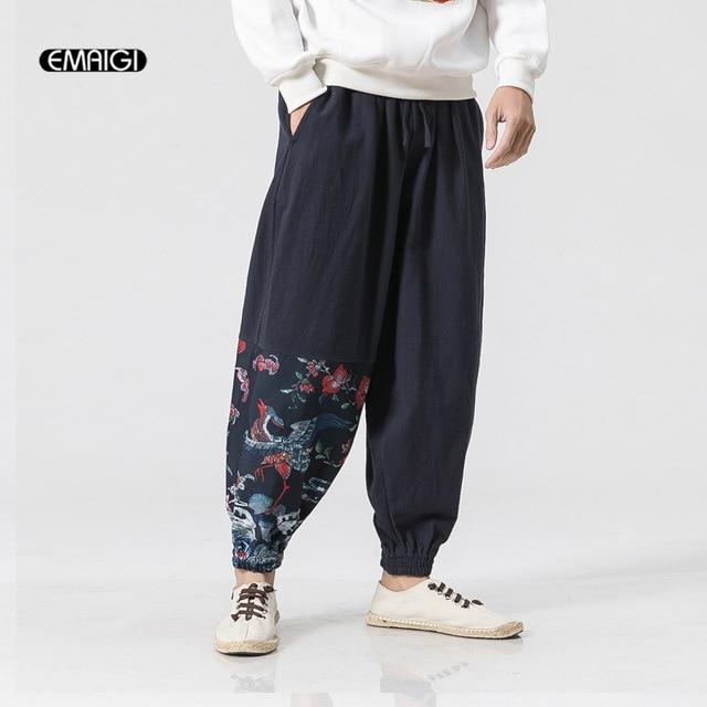 044b7f46190 Plus Size M-5XL Men Loose Cotton Linen Casual Harem Pant Male Fashion Wide  Leg Trousers Joggers Sweatpants