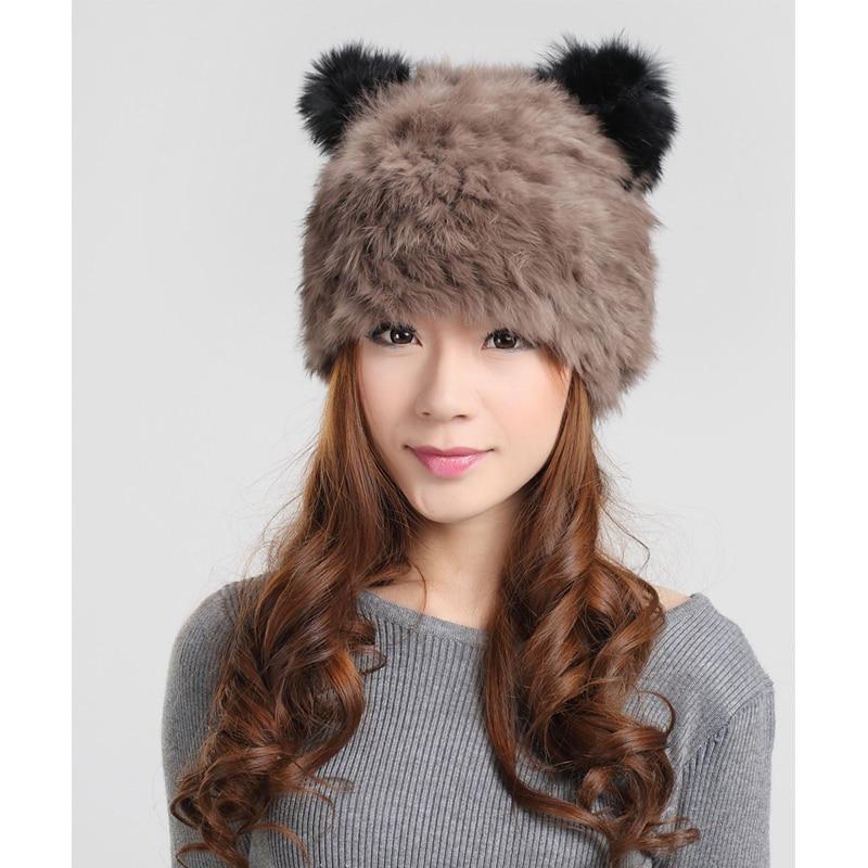 100% Real knitted rabbit fur hat cartoon panda keep warm ear cap winter hats for women lady girls beanies hair berets