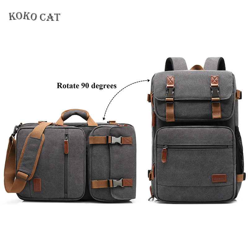 Men Backpack Laptop Bag Convertible Backpacks Waterproof Canvas Laptop Business Multifunctional Men Travel Bags