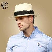 FS Unisex Men Summer Beach Panama Hat Sun Women Straw Hats Wide Brim Casual Trilby Fedora Male Jazz Cap Sombrero Chapeau Femme