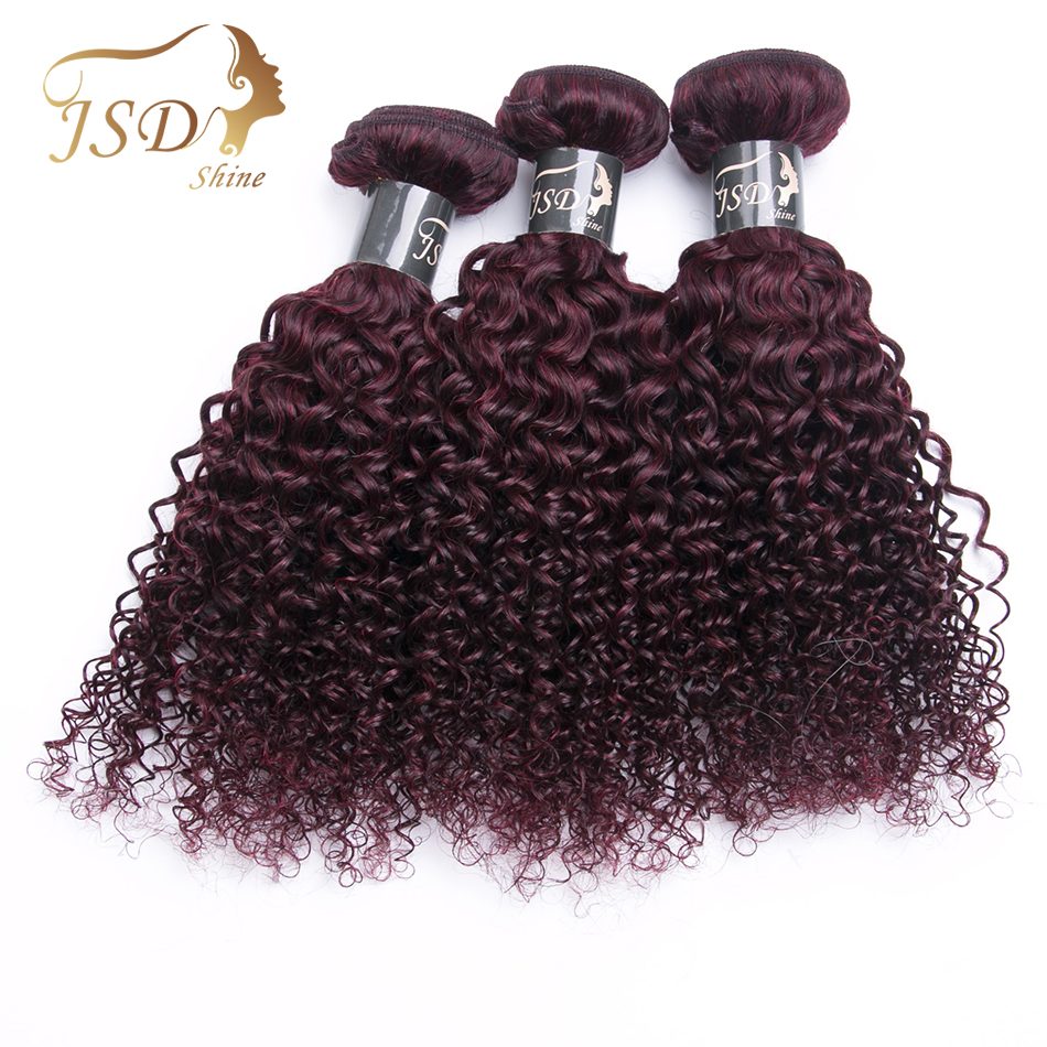 JSDshine Pre-Colored Mongolian Curly Hair Weave 3 Bundles 99j Red Wine Burgundy Non-Remy Kinky Curly Human Hair Extensions