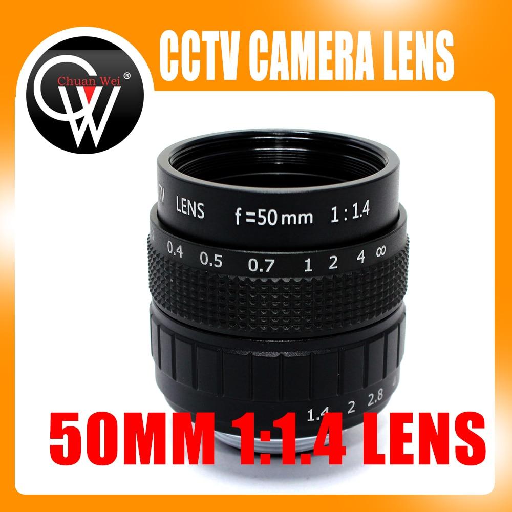 50-mm-Objektiv C-Mount 1: 1,4 CCTV-Objektiv C-Mount 2/3 CCTV-Objektiv mit Aluminiumgehäuse und hochwertigem Kameraobjektiv