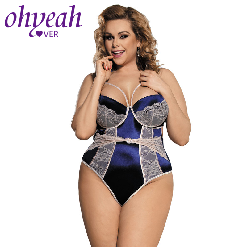 Ohyeahlover   Jumpsuit   Sexy Pagliaccetti Donna Salopette Femme Fashion Bodysuit RM80188 Blue Open Back Floral Lace Teddy Plus Size