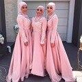 Manga longa Vestido de Noite Muçulmano 2017 Hijab Abaya Kaftan Marroquino Lace Appliqued Formal Prom Vestidos Vestidos de Noite