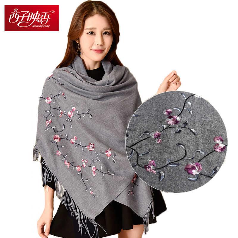 231706f65fabc Winter Scarf Stole Women New 2017Cashmere Wool Scarf Embroidery Lamb Wool  Warm Scarf Blanket Poncho Feminino