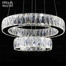 Современная хрустальная светодиодная Подвесная лампа с 2 кольцами