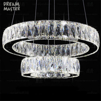 Modern Crystal 2 rings LED pendant lamp  Lustre living room lamp suspension pendant lights bedroom dining room luster lighting