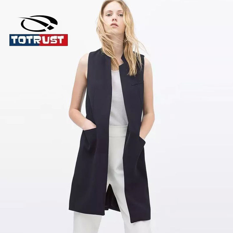 TOTRUST Sleeveless Women Blazers And Jacket 2017 Autumn Vest Mujer Casual Black Blazer Womens Feminino Coat Chaquetas Mujer