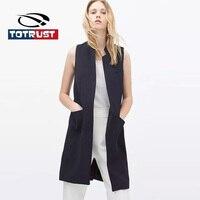 TOTRUST Sleeveless Women Blazers And Jacket 2019 Autumn Vest Mujer Casual Black Blazer Womens Feminino Coat Chaquetas Mujer