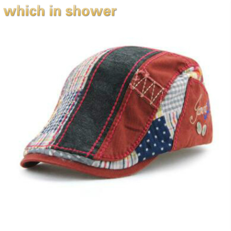 casual striped flat cap for women or men high quality patchwork vintage berets summer autumn visor female peaked newsboy hat