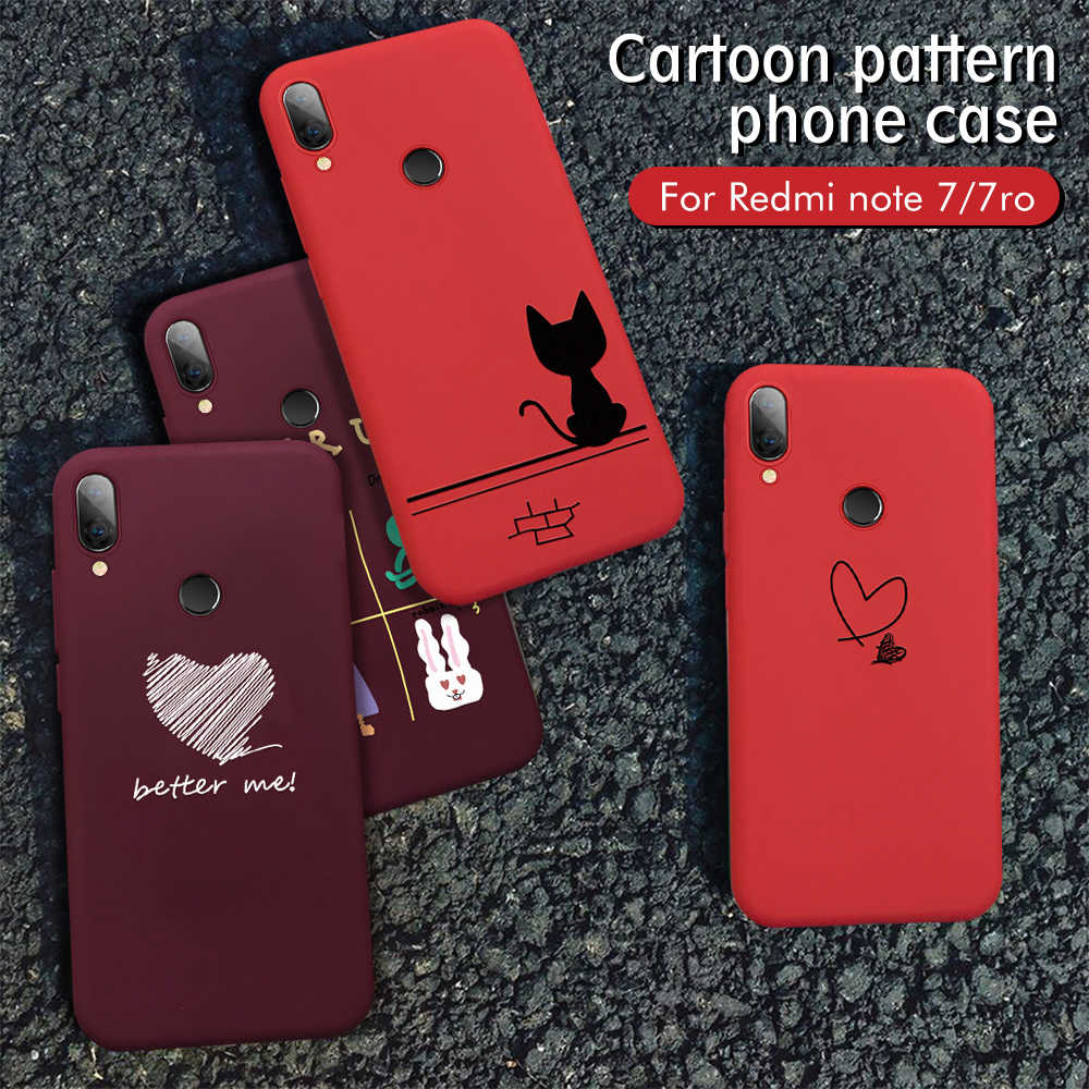 New Claret Red phone case For Huawei Honor 8X 10 20 Pro Lovely Cartoon cases Cute Animal Love Heart TPU Silicone Back cover