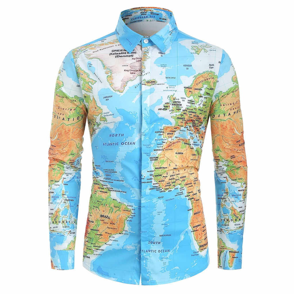feitong Men Summer Shirt Top Blouse 2019 World Map Print New Fashion With Button Casual Breathable Streetwear Shirts Men Blouses