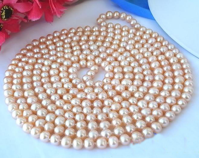 Unique Pearls jewellery Store Long 100 inches 8-9mm Pink Color Freshwater Cultured Pearl Necklace Charming Women Gift FN1046Unique Pearls jewellery Store Long 100 inches 8-9mm Pink Color Freshwater Cultured Pearl Necklace Charming Women Gift FN1046