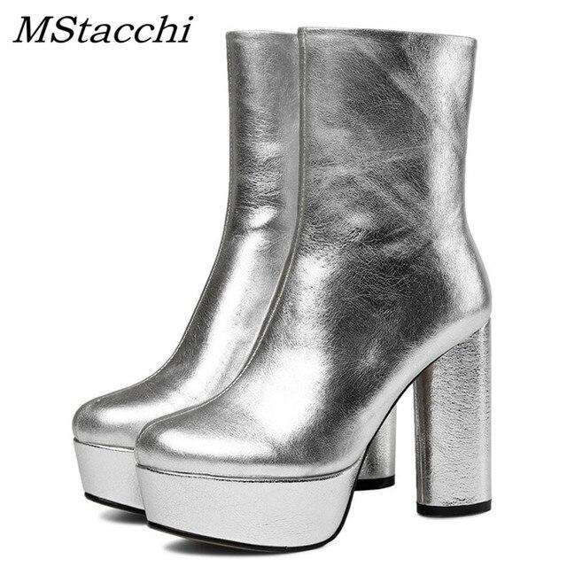 Mstacchi 2018 Nữ Thu Đông Giày Chắc Chắn Khóa Kéo Bên Châu Âu Nữ Nền Tảng Giày Bốt Nữ Bạc Đảng Giày Cao Gót Giày