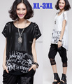 2015new summer casual print chiffon patchwork Shoulder Rhinestone loose T-shirt women dovetail ladies tops tee plus sizeXXXL6913
