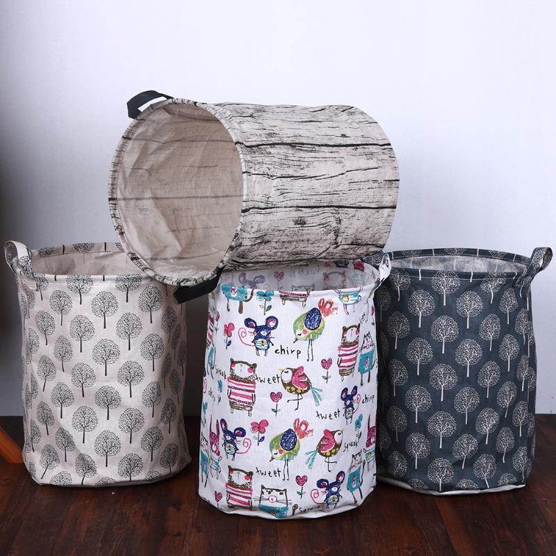 Home Foldable Dirty Laundry Basket Canvas Storage Basket Barrel Creative Kids Toys Organizer Bucket Laundry Organizer Holder