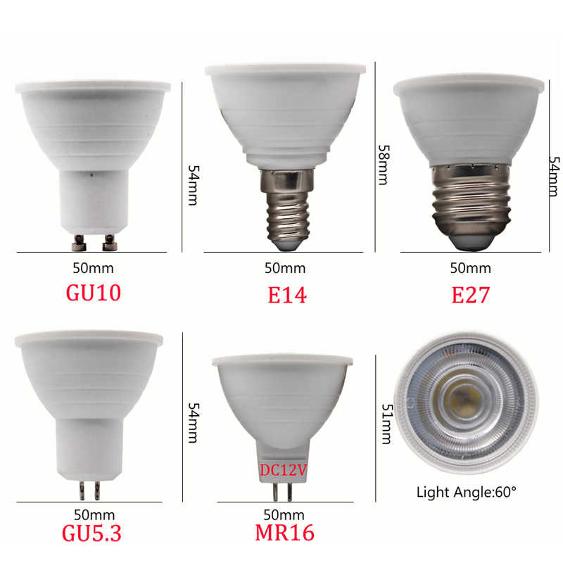 1PCS/Lot LED Spotlight E14 E27 GU10 GU5.3 AC220V led dimmable 9W LED MR16 12V warm white/White LED