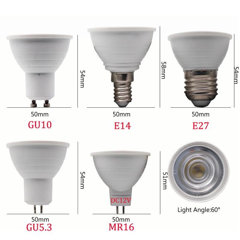 1PCS/Lot LED Spotlight E14 E27 GU10 GU5.3 AC220V Led Dimmable 9W LED MR16 12V Warm White/White LED