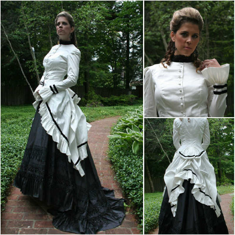White and Black Gothic Dress Victorian Bustle Dress Day Dresses-in ...