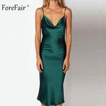 Forefair Summer Satin Dress Women Long Sexy Spaghetti Strap Green Pink Backless Midi Party Night Club Silk Slip Dress 2018