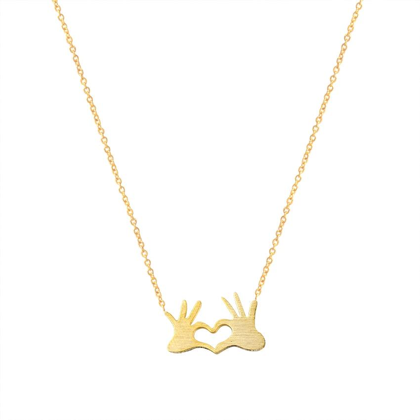 Мода двойной руке Сердце колье Цепочки и ожерелья Нержавеющаясталь пара влюбленных Ожерелья для мужчин Для женщин себе Бесконечность Love ...