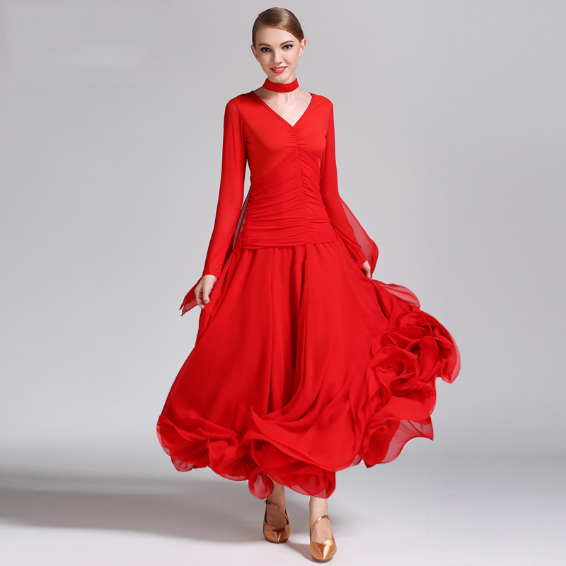 standard dance dress ballroom dance costume woman foxtrot dress waltz dress ballroom tango dresses fringe red dress long