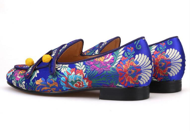 Hombre Pic Noir Pic Zapatos Soie Mocassins Bleu Broderie Sexy Hommes Couleurs Mélangées Chaussures Qianruiti Rouge Mode Appartements Mariage Florale As De as PkOiZXuT
