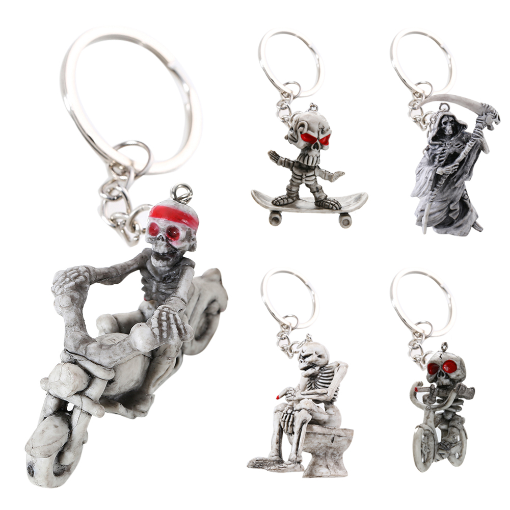 Keychain Keyring Fashion Retro Skeleton Keyring Fashion New Skull Keychain Rubber Motor Car Keychain Car Accessory Women Gift trendy movie silent night jack skull keyring