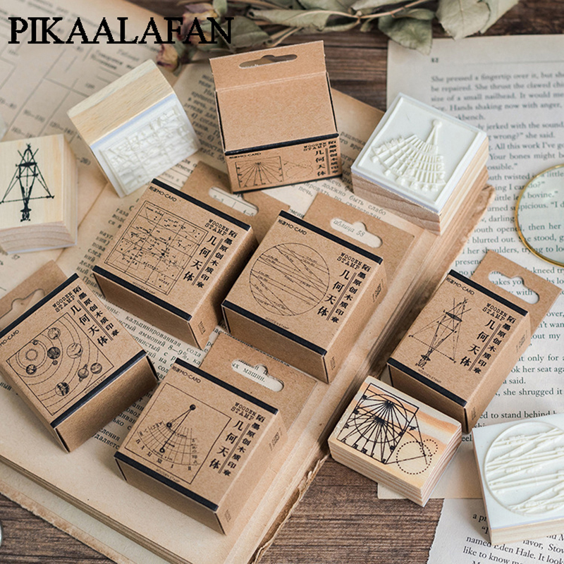 PIKAALAFAN Geometric Celestial Series Boxes Wood Stamp Scrapbook DIY Photo Album Card Decoration Craft Wooden Rubber  Stamp Toy