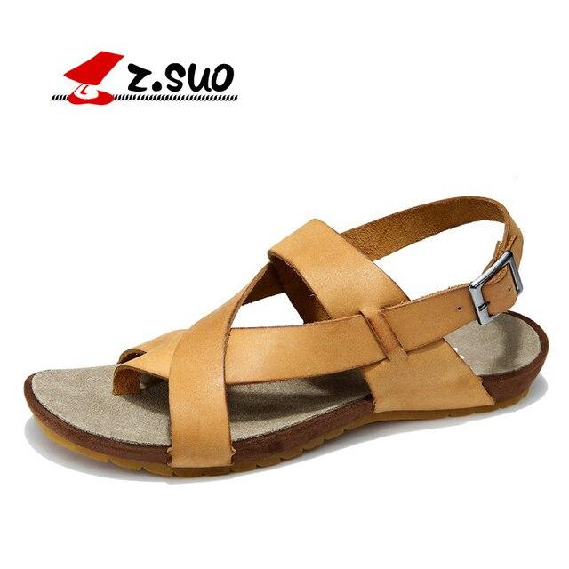 ec95e9d2ac24 Z.SUO brand ZS8398 classic men s sandals crazy horse cow leather fashion  buckle beach sandal