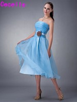Real Images Short Tea Length Blue Strapless Ruching Organza Bridesmaids Dresses Flowers Free Shipping Country Bridesmaid