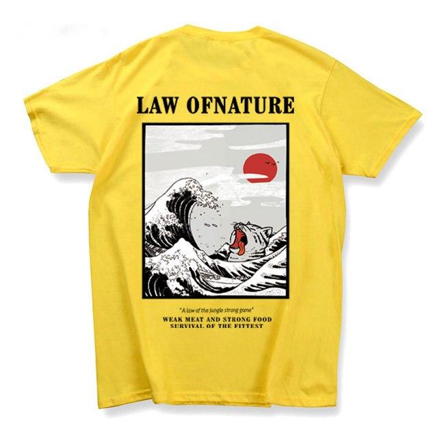 Das Mulheres dos homens De Impressão Japonês Onda Gato Camisetas 2019 Streetwear Hip Hop camiseta homme Casual Tops Tees Tshirts Masculinos
