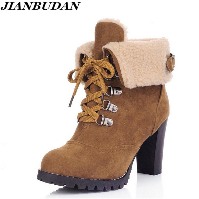 Women Fashion Wedges Heels Warm Winter Ankle Boots