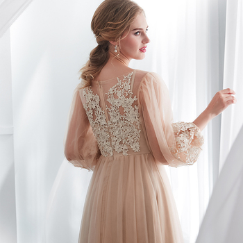 Champagne Prom Dresses Long Puff Sleeves Venice Lace Full Length Evening Dresses Party Gown Formal Dresses vestidos de gala 6