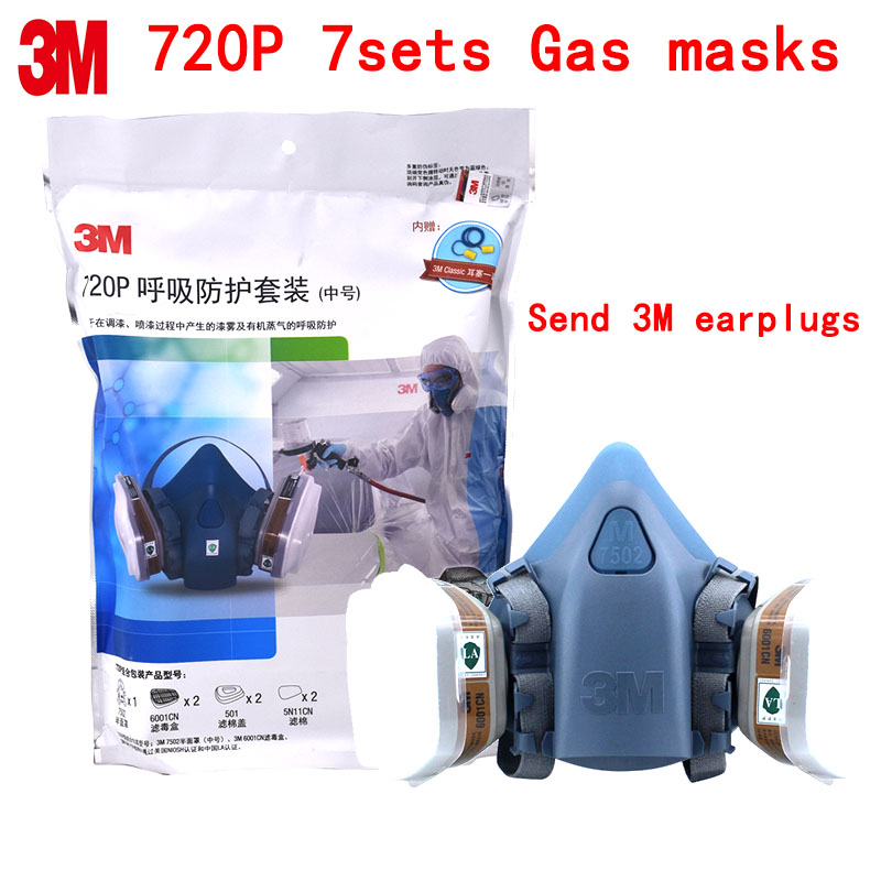 3M 720P respirator gas mask Genuine Original production protective mask against Painting pesticide Organic steam respirator mask 3m 6300 6003 half facepiece reusable respirator organic mask acid face mask organic vapor acid gas respirator lt091