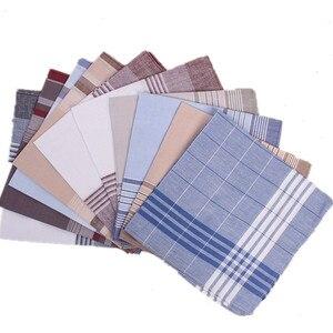 Image 1 - 5Pcs/lot 100% Cotton Chest Towel Plaid Stripe Handkerchiefs Pocket Hanky Handkerchiefs Pocket for Men Wome Business Style