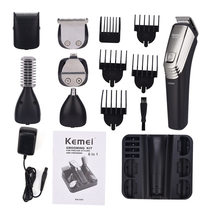 Kemei 6 In 1 Rechargeable Hair Clipper Shaving Machine Beard Trimmer Nose Eyebrow Shaver Electric Razor Men's Grooming Kit 5900