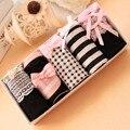5pcs/lot Women Underwear Panties Girls Sweet Cute Bow Cotton Briefs Black Color Sets Women Underpants Gift Box Packing HS99