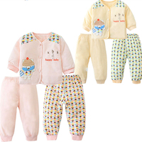 Newborn Baby Three piece Set Cotton Baby's Girl Clothes Winter Set Infant Baby Pants Winter Leggings Warm Quilted Pants Outfits