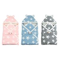 Cute Stars Envelope Winter Hooded Baby Sleeping Bag Buttons Knit Sleepsacks
