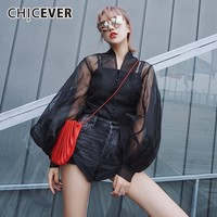 CHICEVER Summer Streetwear Perspective Black Women's Blouse V Neck Lantern Sleeve Button Loose Female Short Shirt 2019 Fashion