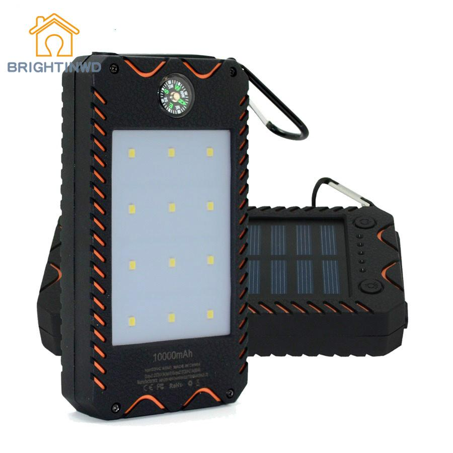 12Leds Portable Solar Power Light 1000mah Waterproof Dual USB With Flashlight Charger For Phone/pad Outdoor Emergency Bank Light dual usb output universal thunder power bank portable external battery emergency charger 13000mah yb651 yoobao for electronics